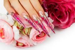 Дизайн искусства ногтей Стоковое Фото