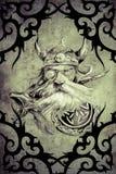 Дизайн искусства татуировки, смерть украшенная с племенными формами иллюстрация вектора