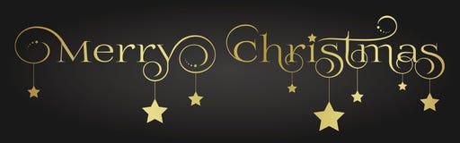 Дизайн литерности золота вектора с Рождеством Христовым с звездами Стоковое фото RF
