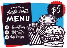 Дизайн и фаст-фуд меню фаст-фуда вручают вычерченную иллюстрацию вектора Шаблон меню ресторана или кафа с эскизом бургера Стоковое Изображение