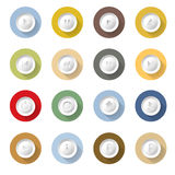 Дизайн иллюстрации вектора медиа-проигрывателя установленный значками плоский Стоковые Изображения