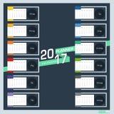 Дизайн иллюстрации вектора плановика 2017 календаря Стоковое Фото