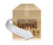 Дизайн иллюстрации коробки доставки мира бесплатная иллюстрация