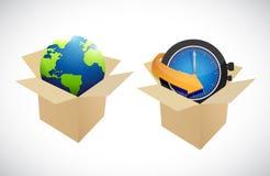 Дизайн иллюстрации коробок глобуса и часов бесплатная иллюстрация