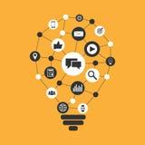 Дизайн иллюстрации маркетинга цифров плоский Стоковые Фото