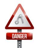 Дизайн иллюстрации предупредительного знака опасности ключей Стоковая Фотография
