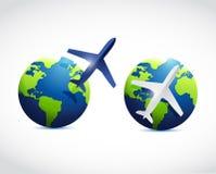 Дизайн иллюстрации самолета глобуса иллюстрация штока