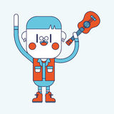 Дизайн иллюстрации характера Мальчик играя шарж гитары, eps Стоковая Фотография RF