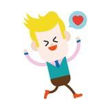 Дизайн иллюстрации характера Шарж бизнесмена радостный, eps бесплатная иллюстрация