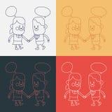 Дизайн иллюстрации характера Шарж девушки и мальчика говоря, eps иллюстрация вектора