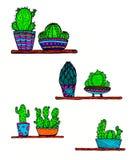 Дизайн кактуса Doodle Стоковое Изображение RF