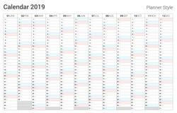 Дизайн календаря плановика 2019 Стиль вектора простой Выходные воскресенья иллюстрация штока