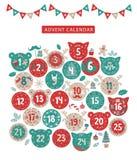 Дизайн календаря пришествия веселого рождества бесплатная иллюстрация