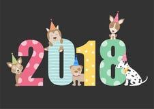 Дизайн календаря 2018 собаки портрета, год собаки чешет шаблоны, иллюстрации вектора Стоковое Фото