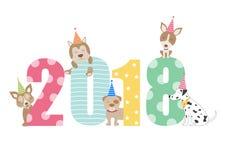 Дизайн календаря 2018 собаки портрета, год собаки чешет шаблоны, иллюстрации вектора Стоковое фото RF