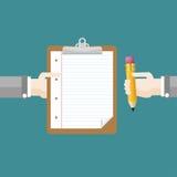 Дизайн карандаша доски сзажимом для бумаги рук плоский иллюстрация штока