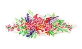 Дизайн картины акварели при цветки изолированные на белизне Стоковая Фотография RF