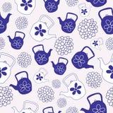 Дизайн картины голубых чайников безшовный иллюстрация штока