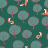 Дизайн картины лисы дерева безшовный иллюстрация штока