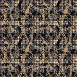 Дизайн картины ткани Шотландка и цепь бесплатная иллюстрация