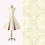 Дизайн картины ткани для платья женщины Улучшите для печатать Стоковое фото RF