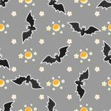Дизайн картины хеллоуина безшовный с летучей мышью, луной и звездами иллюстрация вектора
