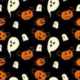 Дизайн картины хеллоуина безшовный с призраками и вампирами тыкв иллюстрация вектора