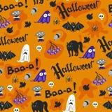 Дизайн картины хеллоуина безшовный с призраком, черепом, тыквой и черным котом иллюстрация штока