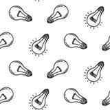 Дизайн картины электрической лампочки лампы нарисованный рукой безшовный белизна изолированная шариками светлая Стоковое Фото