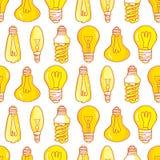 Дизайн картины электрических лампочек лампы нарисованный рукой безшовный Стоковое Изображение RF