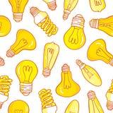 Дизайн картины электрических лампочек лампы нарисованный рукой безшовный Стоковое Изображение