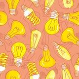 Дизайн картины электрических лампочек лампы нарисованный рукой безшовный Стоковая Фотография RF