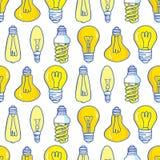 Дизайн картины электрических лампочек лампы нарисованный рукой безшовный Стоковые Фотографии RF