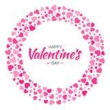 Дизайн карточки дня валентинок Полюбите рамку круга от сердец картины нежных розовых изолированных на белой предпосылке Стоковое Фото