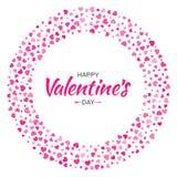 Дизайн карточки дня валентинок Полюбите рамку круга от сердец картины нежных розовых изолированных на белой предпосылке Стоковое фото RF