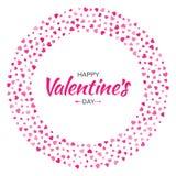 Дизайн карточки дня валентинок Полюбите рамку круга от сердец картины нежных розовых изолированных на белой предпосылке Стоковое Изображение