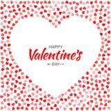 Дизайн карточки дня валентинок Силуэт рамки сердца от красных картины нежных и розовых сердец на белой предпосылке Стоковые Фото