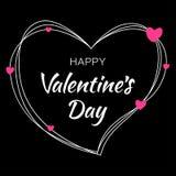 Дизайн карточки дня валентинок Силуэт сердца от линий и литерности scribble на черной предпосылке с розовыми сердцами Стоковое Изображение