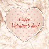 Дизайн карточки дня валентинки с бумажным сердцем Стоковое Изображение RF