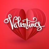 Дизайн карточки поздравительной открытки текста счастливого вектора дня валентинок рукописный с реалистической бумагой 3d отрезал иллюстрация штока