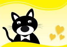 Дизайн карточки с милым черным котом и желтой границей стоковые изображения