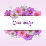 Дизайн карточки цветка космоса Флористическое приглашение Стоковые Фото