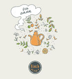 Дизайн карточки черного чая Стоковое фото RF