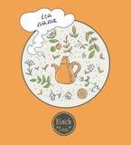 Дизайн карточки черного чая Стоковое Фото
