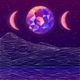 Дизайн карточки Vaporwave ультрафиолетов низкий поли Иллюстрация штока