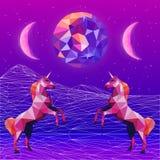 Дизайн карточки Vaporwave ультрафиолетов низкий поли Бесплатная Иллюстрация