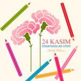 Дизайн карты дня учителей 24-ое ноября турецкий Английское translati иллюстрация штока