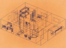 Дизайн квартиры - ретро светокопия архитектора иллюстрация вектора