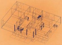 Дизайн квартиры - ретро светокопия архитектора бесплатная иллюстрация