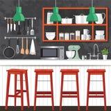 Дизайн комнаты кухни Стоковая Фотография